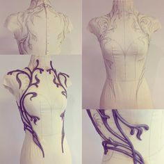 Working on a new dress design, shaping flower vines around the torso. First sew a fitting form for the mannequin, then hand draw the shape…