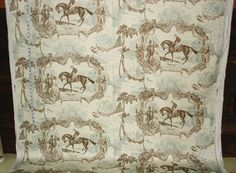 Race horse fabric Gladiateur equestrian toile blue from Brick House Fabric: Novelty Fabric
