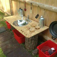 Buitenkeuken met grote houten achterplaat om keukengereedschap aan op te hangen. En hoog werkblad om aan te snijden en voorbereiden, en rekjes voor verse groenten en pannen enzo?