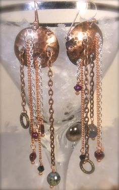 Get your Rock Star on with these great earrings! One of a Kind Bohemian Copper and Chain Statement by cherbear71, $38.00