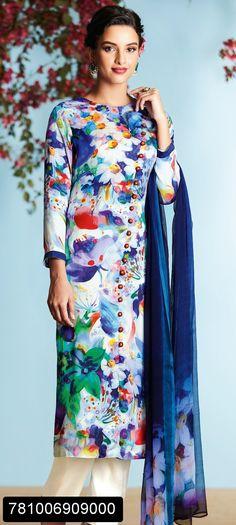 Latest pant style digital print suit for working women with chiffon digital print dupatta
