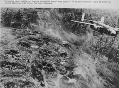 """US bombers """"Mitchell"""" fly in the open mound Japanese AAA bateries Ww2 Pictures, Ww2 Photos, Ww2 Aircraft, Military Aircraft, Us Bombers, War Of The Pacific, Time Photo, Nose Art, Us Army"""