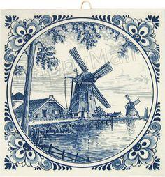 """/""""Delft Delft/"""" 6 carreaux par type grande image moulin à vent = extra enchère"""