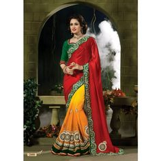 Attractive Red And Orange Designer Saree #saree #sarees #designersaree #indianfashion #partywear #onlineshopping