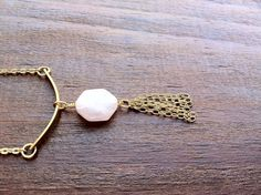 Buy Brass bar necklace with rose quartz hexagon / geometric necklace/ layering boho minimalist jewelry by prettyinc2. Explore more products on http://prettyinc2.etsy.com