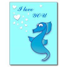 Cute Seahorse I love you Blue Postcards