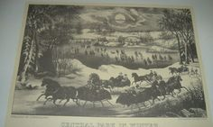 1953 Currier & Ives Plate/Print CENTRAL PARK IN WINTER Skate Pond Horse Sleighs | eBay