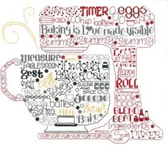 "Ursula Michael brings the kitchen aroma to the tips of your stitching fingers with Lets Bake! This mixer, reminiscent of those awesome Kitchenaid� mixers, is created with words and phrases such as Sugar and Spice, Love at First Taste, Yummy, Baking is Love Made Visible and many more. The stitch count is 130 x 154 with a approximate design size of 9.5"" x 11"". Supplies required: 16"" (6"" included for finishing) of 14-count White Aida (3706-100) DMC Floss: 310, 321, 414, 498, 3852"