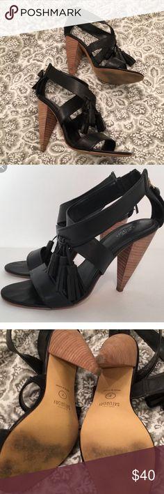 Kate Spade Saturday tassel heels Barely worn black strappy heels with tassel kate spade Shoes Heels