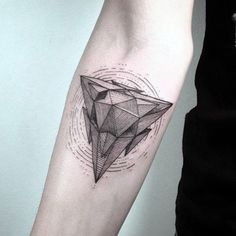 Male 3D Monumental Triangle Tattoo On Arms