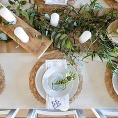 Blue fynbos napkins add just the right touch to this simple tablescape. Loved mixing the fresh fynbos with the variety of eucalyptus - blending a bit of Australia into my South African table ❤ Happy Weekend, The Fresh, Tablescapes, Black Friday, Napkins, Table Settings, Room Ideas, Dining Room, African