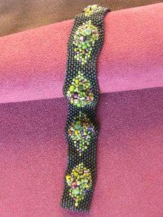 peyote stitch bracelet with waves of bead soup