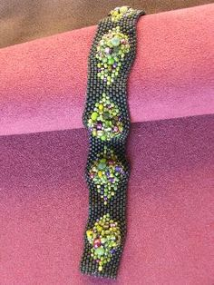 peyote stitch bracelet with waves of bead soup