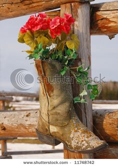 Flowers in old boots...I should do this on our front fence posts! Cute, cute, cute!