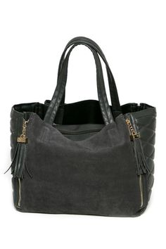 """This Gorgeous timeless Tote in a pebble grey color is a great bag for every day and especially travel as it also includes a removable pouch and a zipper compartment. The side quilted detail and front zipper tassel accents make the bag unique and gives it a designer feel. It is a lightweight bag and is a nice size  Measures:13.5""""L x 11.5""""H x 7.5W . Removable inside pouch measures 13""""Lx 9""""H.  Suede Leather Tote by Styles Boutique. Bags - Totes Boca Raton Florida"""