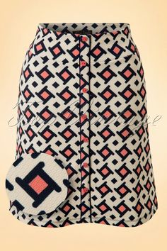 King Louie 60s Shake Button Skirt in Cream