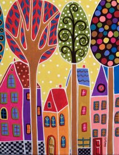 karla gerard art: Four Houses And Trees