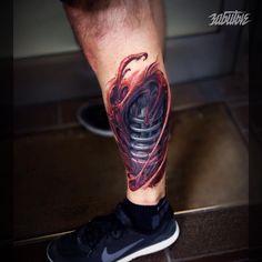 Biomechanical tattoo on calves by Konstantin Alekseev 3d Tattoos For Men, Best 3d Tattoos, Dope Tattoos, Skull Tattoos, Leg Tattoos, Tatoos, Biomech Tattoo, Biomechanical Tattoo, Scar Tattoo
