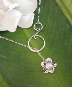 Silver Pearl Flower Lariat Swirl Necklace, Handmade - Mother's Day