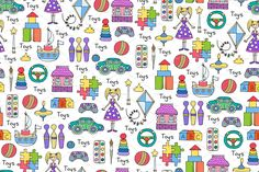 Hand drawn pattern with toys by Ola_View on Creative Market , Simple Background Design, Dates, Simple Backgrounds, Wallpaper Backgrounds, Creative Sketches, Paint Markers, Pencil Illustration, Graphic Patterns, Drawing For Kids