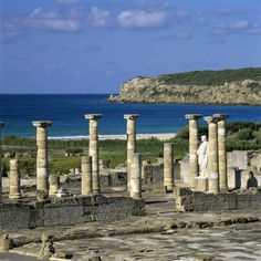 Roman Ruins with Statue of Emperor Trajan, Baelo Claudia, Near Tarifa, Andalucia, Spain. Ancient Ruins, Ancient Rome, Cool Places To Visit, Places To Travel, Andalucia Spain, Cadiz, Spain And Portugal, Spain Travel, Roman Empire