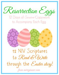 FREE Resurrection Eggs Copywork  - 12 days of copy work to coordinate with the resurrection eggs.