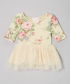 Take a look at this Beige Floral Tutu Long-Sleeve Dress - Infant & Toddler by Designer Kidz on #zulily today!