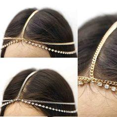New Women Gold Head Band Piece Metal Chain Fashion accessories Rhinestone Silver
