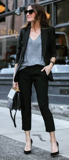 black and grey outfit idea / jacket + top + pants + bag + heels