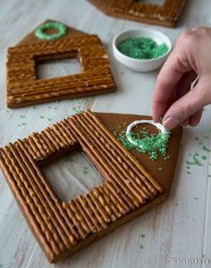 An easy way to create a wreath on the front of your gingerbread house.