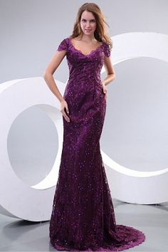 Lace Purple Trumpet/Mermaid Party Dresses ted2439 - SILHOUETTE: Trumpet/Mermaid; FABRIC: Lace; EMBELLISHMENTS: Beading; LENGTH: Sweep/Brush Train - Price: 165.0300 - Link: http://www.theeveningdresses.com/lace-purple-trumpet-mermaid-party-dresses-ted2439.html