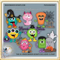 Monster-Halloween-ClipArts von MagicmakerScraps auf Etsy