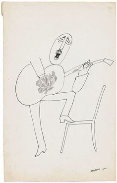 O violonista, 1952 | © The Saul Steinberg Foundation, man singing passionately with guitar - Dad like?