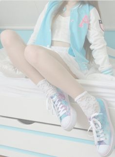 crop top ; jacket ; shoes ; blue ; white ; skirt