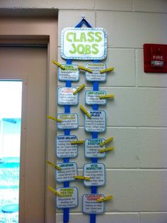 Classroom Jobs Chart Idea...attach description  Need to hang lanyards with title nearby so floor sweeper and table washer are easily identified in cafeteria