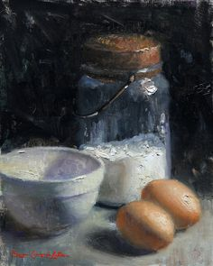 "Original Oil Painting; Still Life; Eggs and Flour- 10"" x 8"" By Bryce Cameron Liston"