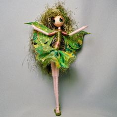 FAIRY ART DOLL in Forest Greens with High Heels and Glittery Wings ooak  by Rhiannon on Etsy, $30.00