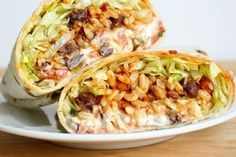 Spicy bean and rice burrito
