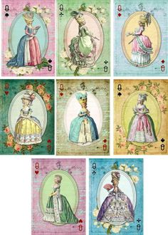 Vintage inspired Marie Antoinette playing cards tags ATC altered art set of 8