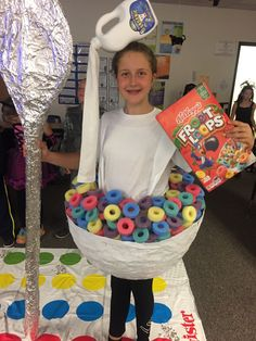 Fruit Loops Cereal Bowl costume with milk jug headpiece. My daughter won 1st place at her school's Halloween costume contest!