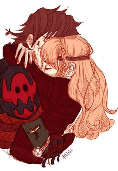 Hiccup and Astrid sharing a romantic loving embrace hug