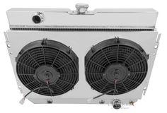 "Pontiac Bonneville Custom Aluminum Radiator Fan Shroud /& 2-14/"" Fans 17/""H x 28 1"
