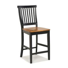 24 Inch Black And Distressed Oak Bar Stool By Home Styles