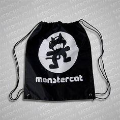 White Logo Black Cinch Bag : Monstercat
