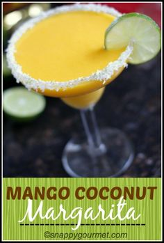 Frozen Mango Coconut Margarita recipe, perfect spring and summer cocktail! #cincodemayo #mothersday snappygourmet.com