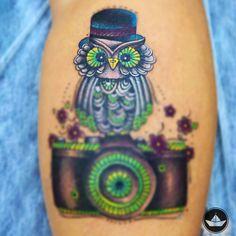 Tattoo: Coruja com câmera ~ De duas, uma   Design, Ilustrações e Tattoos