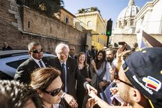 Senator Bernie Sanders with his wife, Jane, at Vatican City to attend an economic conference on Friday.