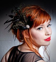 Red lips & Beautiful Hair!! Belle Epoch Black And Green Feather Hair Clip by BaroqueAndRoll