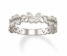 Stackable Diamond Butterfly Ring in 14k White Gold Ring