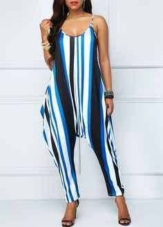 bc6ec71c905e Scoop Back Striped Spaghetti Strap Jumpsuit
